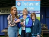 Tydavnet Show Queen Shauna McAree, left and President of Tydavnet Show, Mary Sherry, right, presenting Scott Cup for Flowers to Shirley Wright. ©Rory Geary/The Northern Standard