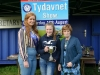 Tydavnet Show Queen Shauna McAree, left and President of Tydavnet Show, Mary Sherry, right, presenting Sophie Marron with the Liam Butler Cup for joined writing. ©Rory Geary/The Northern Standard