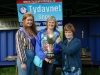 At the presentation of the Tydavnet Show President Cup to winner Shirley Wright, centre, was President, Mary Sherry, right and Tydavnet Show Queen Shauna McAree, left. ©Rory Geary/The Northern Standard