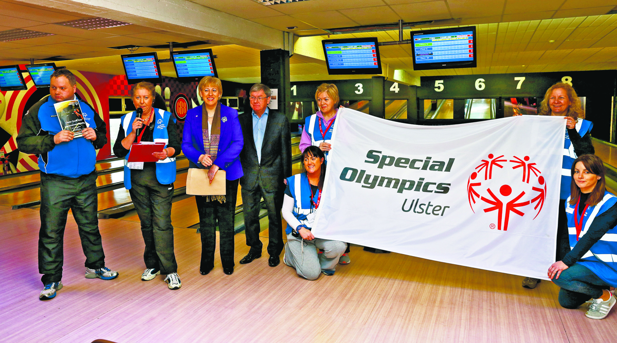 Arts Minister Heather with Siobhan Toner fro Newry, at the launch of the Ulster Special Olympics Advancement Bowling Event, staged at GR8 Entertainment Complex, Monaghan Road Business Park Castleblayney. Picture: Jimmy Walsh