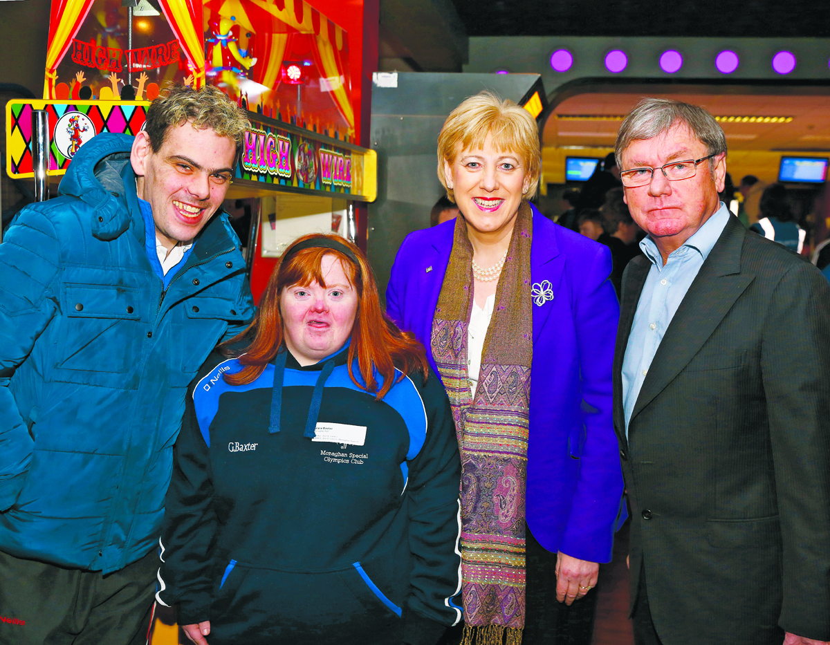 Arts Minister Heather Humphreys with Padraig Watters, Paurtic Crudden and Grace Baxter, at the Ulster Special Olympics Advancement Bowling Event, staged at GR8 Entertainment Complex, Monaghan Road Business Park Castleblayney. Picture: Jimmy Walsh