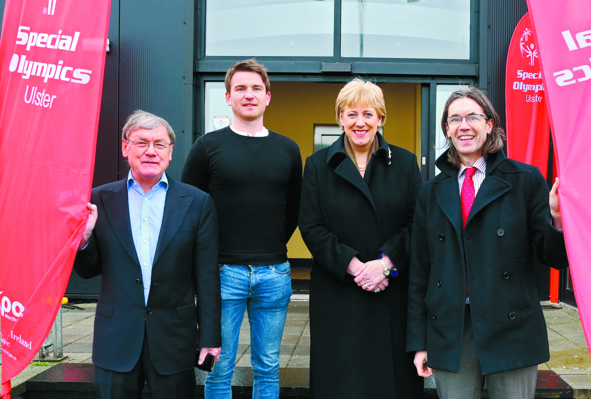 Heather Humphreys, Minister for Arts, Heritage and the GHaeltacht, pictured with Dessie Mone, Cllr. Aidan Campbell and Padraig Watters, at the launch of the Ulster Special Olympics Advancement Bowling Event, staged at GR8 Entertainment Complex, Monaghan Road Business Park Castleblayney. Picture: Jimmy Walsh