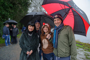 Pictured at the Christmas Day Swim at Emylough were (L-R) Stephaine Jebb, Gerald McGonnell, Paula and Paddy O'Hara. ©Rory Geary/The Northern Standard