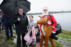 At the Christmas Day Swim at Emy Lake for the Monaghan Parents and Friends were (L-R) Eamon McKiernan, Megan, Tara and Martin O'Brien. ©Rory Geary/The Northern Standard