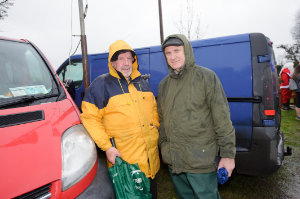Frank Murphy and Joe Dirwin at the Christmas Day Swim at Emy Lake. ©Rory Geary/The Northern Standard