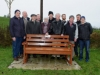 Some of the past members of the Emyvale Scout Unit at the unveiling of the bench in memory of Benny McKenna, Scout Master, who organised the first Christmas Day Swim at Emy Lake, with members of the Donagh Development Association and Veronica and Conleith McKenna. ©Rory Geary/The Northern Standard