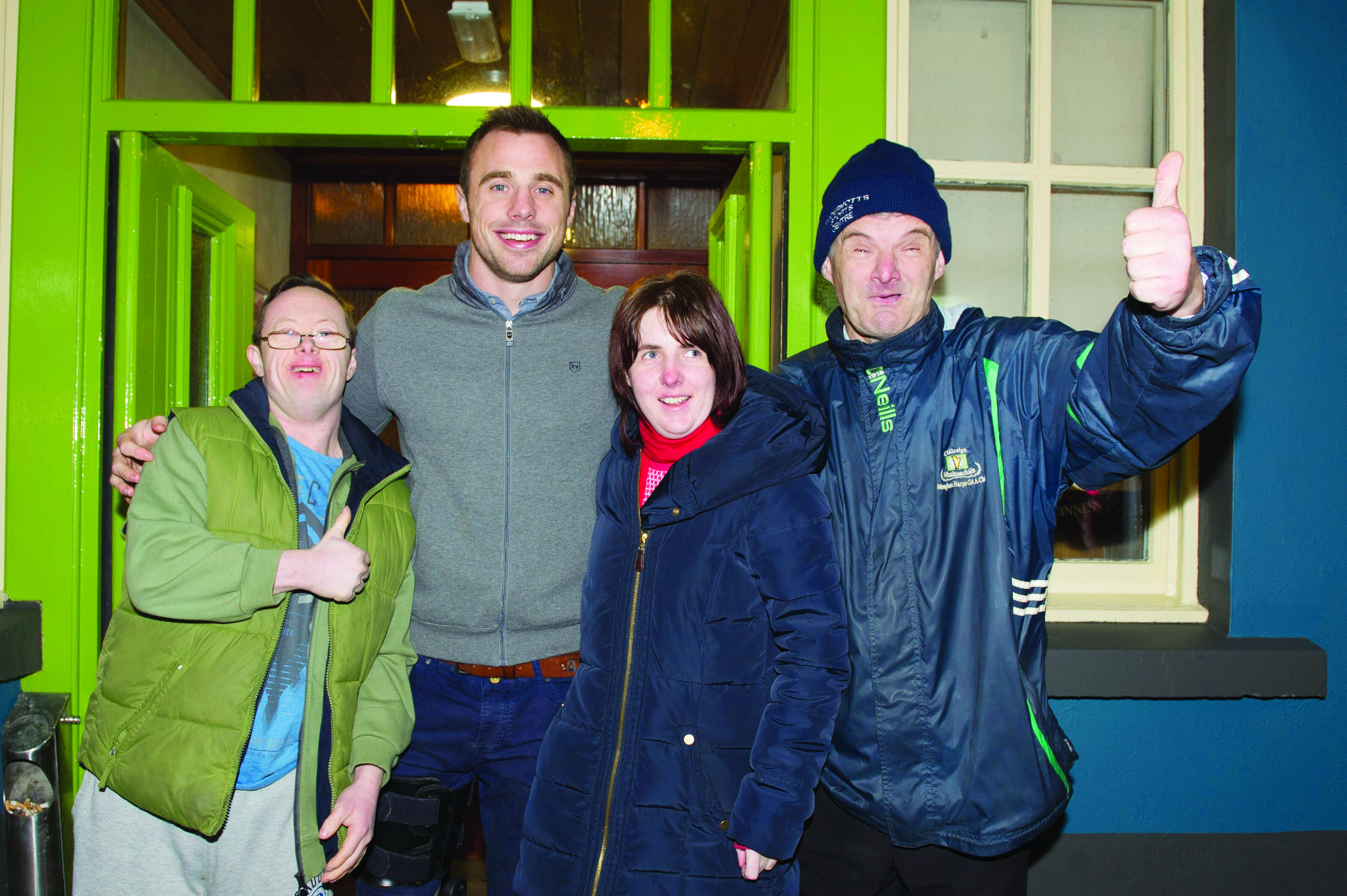 Tommy Bowe with Stephen and Mairead Kernaghan and Hugh Coyle, when he switched on the Monaghan Town Christmas Lights. ©Rory Geary/The Northern Standard
