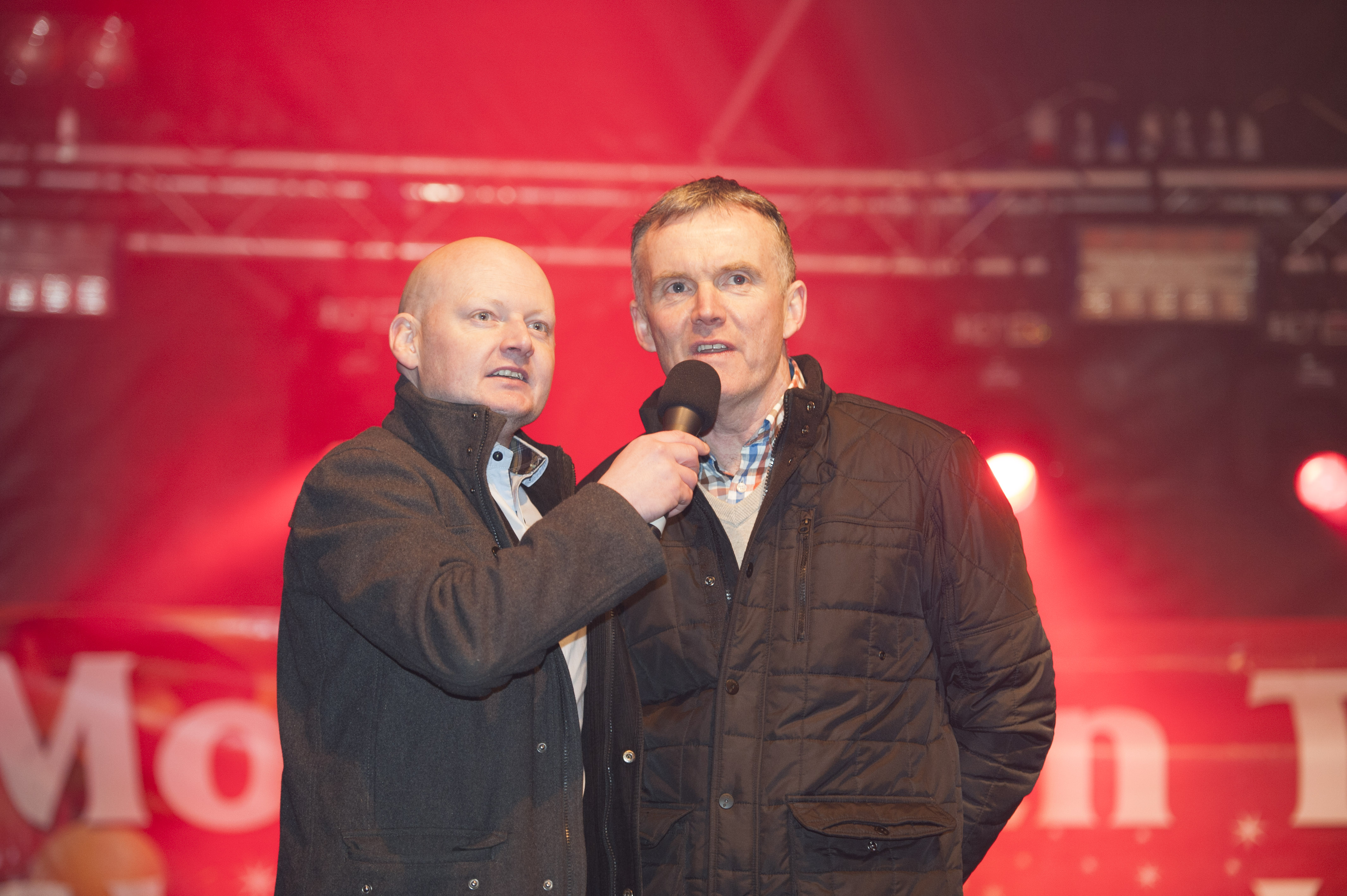 Cathaoirleach of Monaghan Municipal District, Robbie Gallagher, right, speaking with Sean McCaffrey, at the Monaghan Town Christmas Lights Switch-On. ©Rory Geary/The Northern Standard