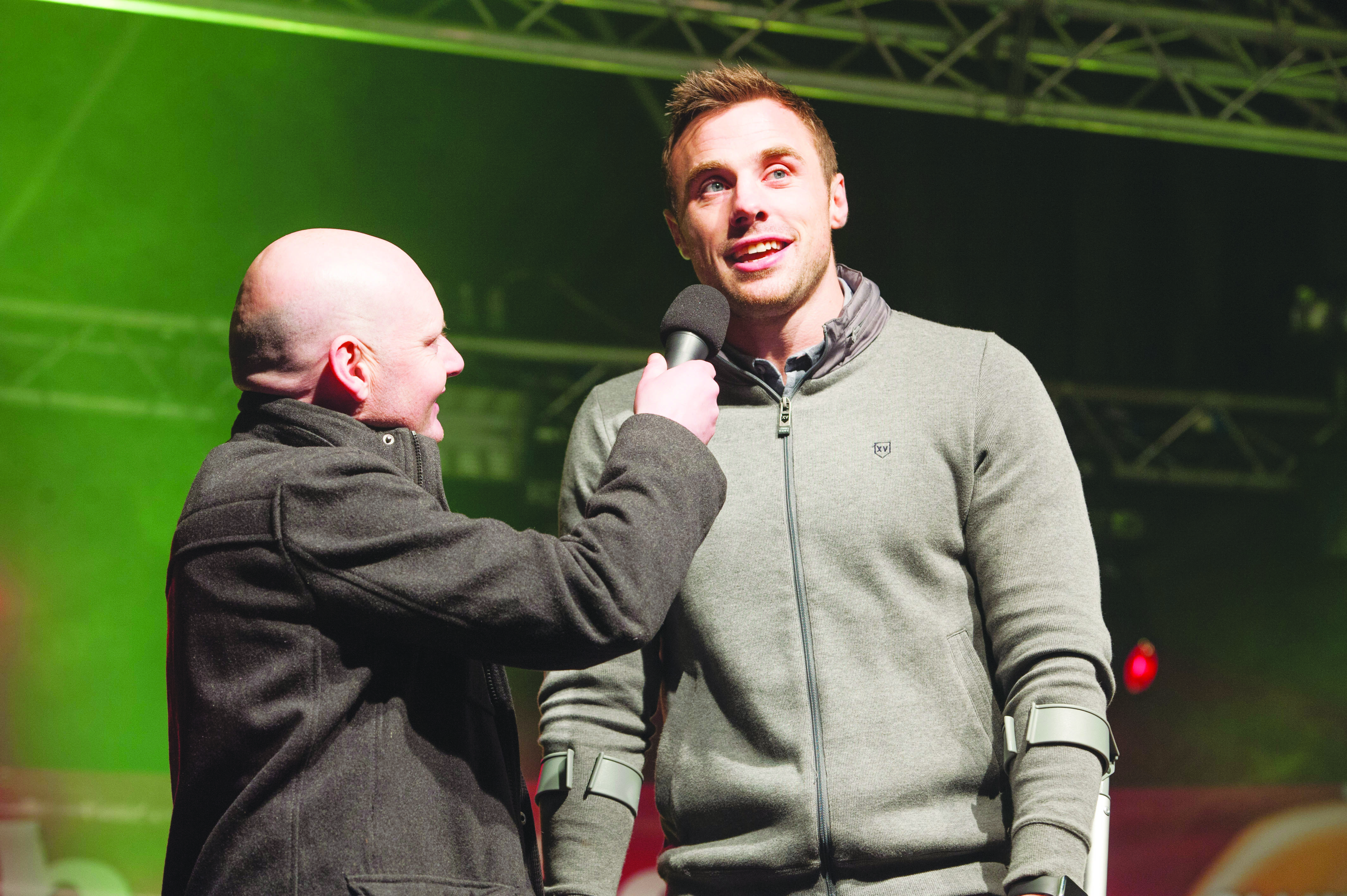 Tommy Bowe speaking with Sean McCaffrey at the Monaghan Town Christmas Lights Switch-On. ©Rory Geary/The Northern Standard