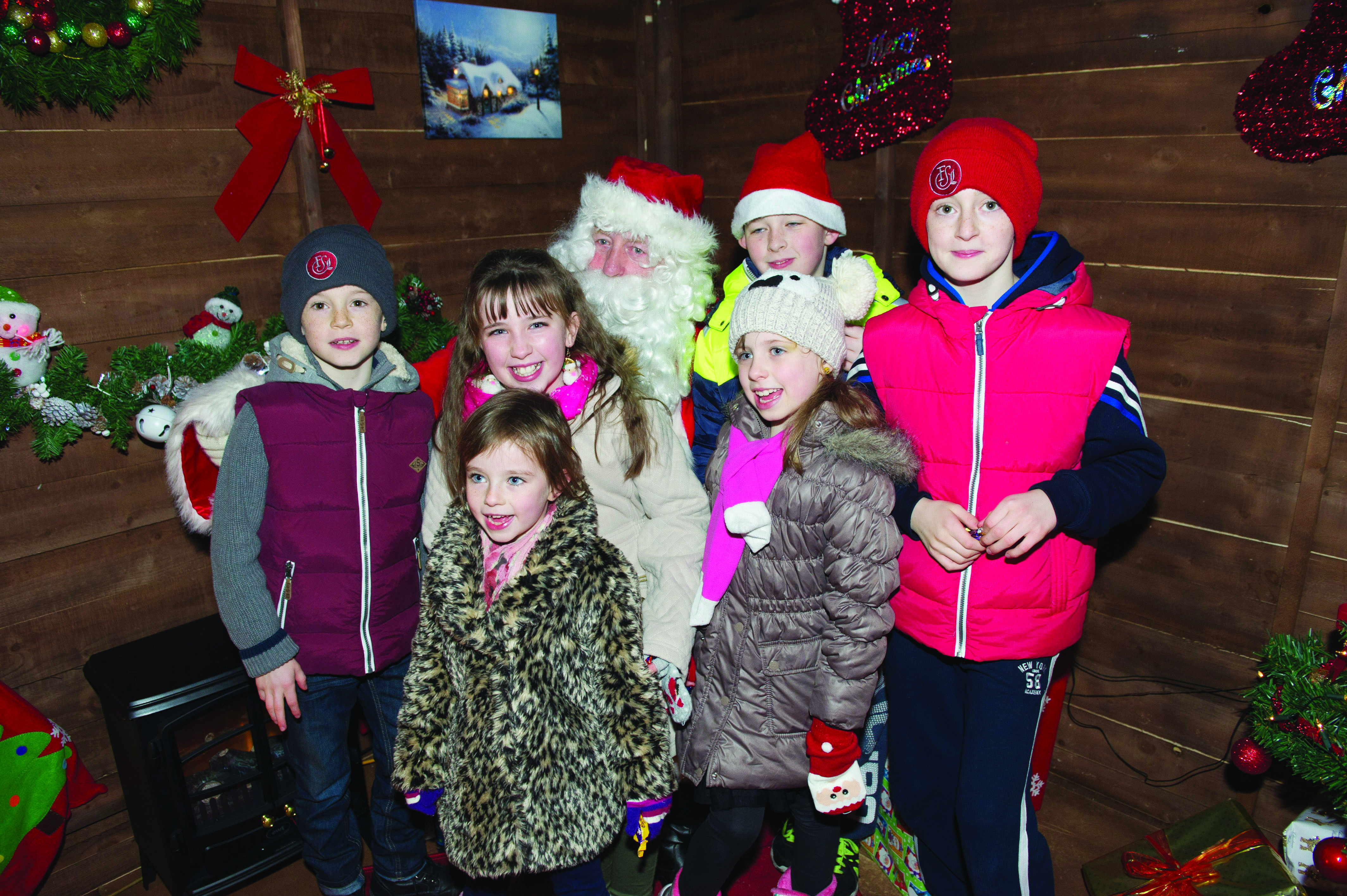 A group of children with Santa at the Monaghan Town Christmas Lights Switch-On. ©Rory Geary/The Northern Standard