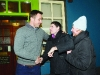 Tommy Bowe meeting with Cian Briolly and Margaret McFarrell. ©Rory Geary/The Northern Standard